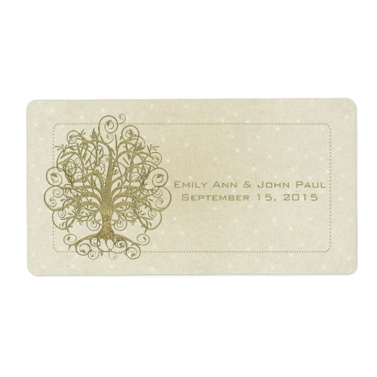 Gold Swirl Tree on Stone with Stars Save the Date Shipping Label