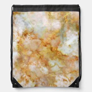 Gold Swirled Marble Drawstring Bag