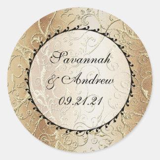 Gold Swirls Black Font Wedding sticker