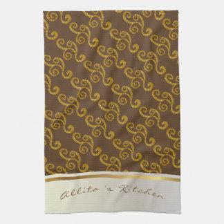 Gold Swirls & Brown Personalized Tea Towel