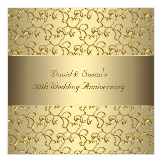 Gold Swirls Gold 50th Wedding Anniversary Party 13 Cm X 13 Cm Square Invitation Card