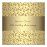 Gold Swirls Gold 50th Wedding Anniversary Party Personalized Announcements
