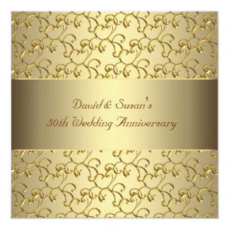 Gold Swirls Gold 50th Wedding Anniversary Party Personalized Invitation