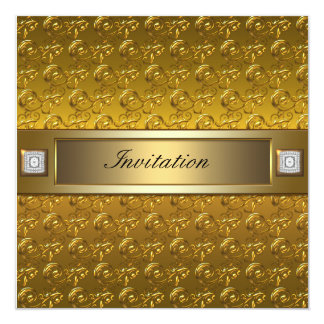 Gold Swirls Gold All Occasion Party Template 13 Cm X 13 Cm Square Invitation Card
