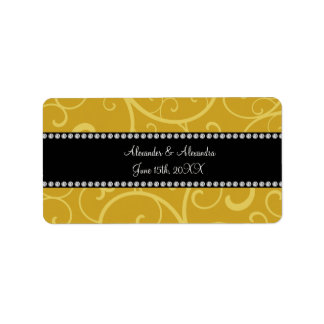 gold swirls wedding favors address label