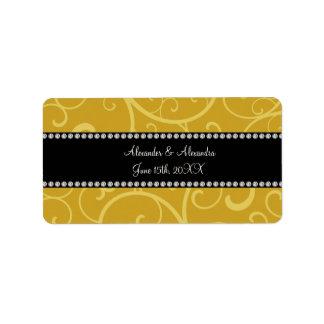 gold swirls wedding favors address label