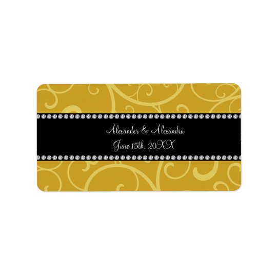 gold swirls wedding favours address label