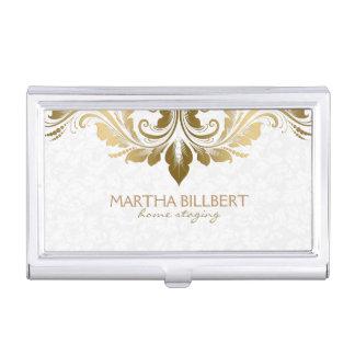 Gold Swirly Lace On Plush White Damasks Pattern Business Card Holder