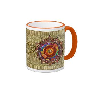 Gold Symbolic Sun Mandala Ringer Coffee Mug