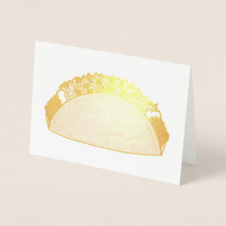Gold Taco Mexican Food Foodie Taco Tuesday Foil Card