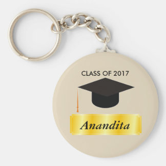 Gold Tag Graduation Basic Round Button Key Ring