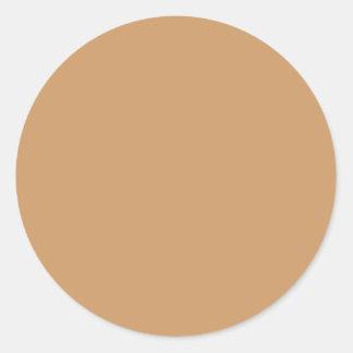 Gold Tan Colour Classic Round Sticker