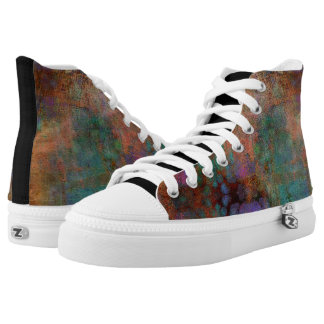 Gold, Teal and Purple Abstract Printed Shoes