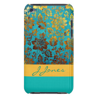 Gold Teal Flower Pattern Print Design Barely There iPod Cases