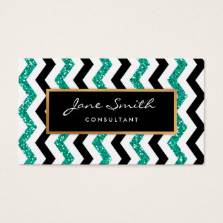 Gold, Teal Glitter, Black & White Chevron Pattern Business Card