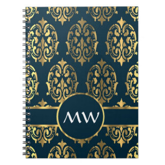 Gold & teal green damask note book