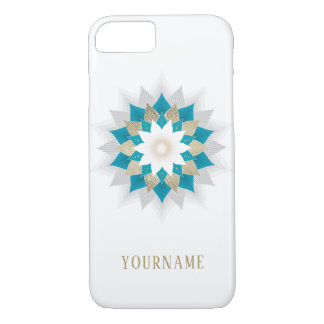 Gold & Teal Lotus Flower Mandala Elegant iPhone 8/7 Case