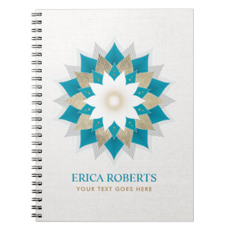 Gold & Teal Lotus Flower Yoga Elegant Linen Notebook