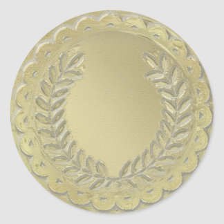 Gold Template Customize Laurel Wreath Round Sticker