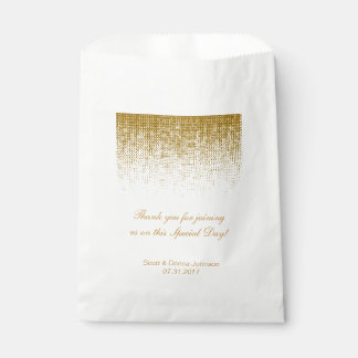 Gold Texture Confetti Wedding Shower | Personalise Favour Bag