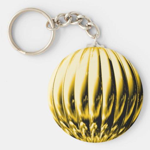 Gold textured ball keychain