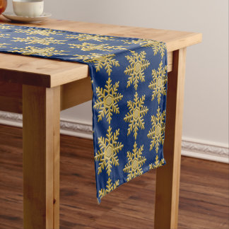 Gold Textured Snowflake on Royal Blue Table Runner