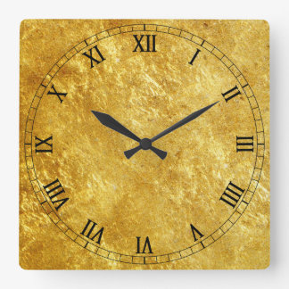 Gold Textured Square Wall Clock