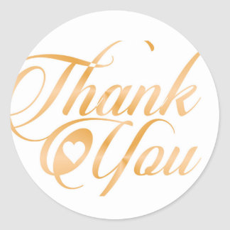 Gold Thank you Elegant typography script Round Sticker
