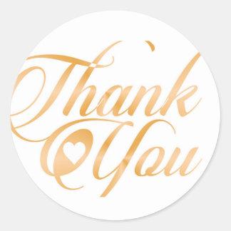 Gold Thank you Elegant typography script Round Sticker