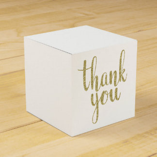 Gold thank you favor boxes, glitter favour box