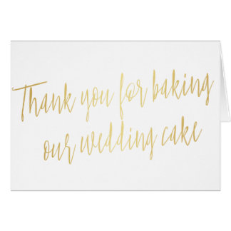 """Gold """"Thank you for baking our wedding cake"""" Card"""