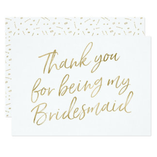 "Gold ""Thank you for being my bridesmaid"" 13 Cm X 18 Cm Invitation Card"