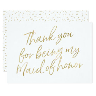 "Gold ""Thank you for being my maid of honor"" 13 Cm X 18 Cm Invitation Card"