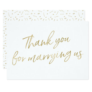 "Gold ""Thank you for marrying us"" Card"
