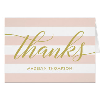 Gold Thank You Notes | Blush Pink Stripes