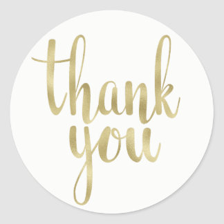 Gold thank you stickers, foil, round classic round sticker