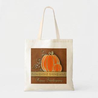 Gold Thanksgiving Pumpkin Leaves - Budget Tote