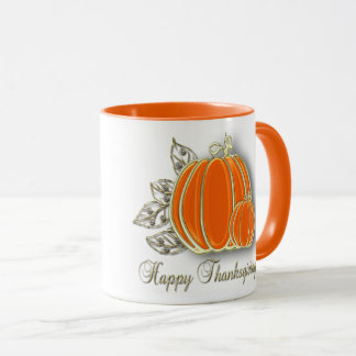 Gold Thanksgiving Pumpkin Leaves - Mug