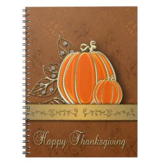 Gold Thanksgiving Pumpkin Leaves - Notebook