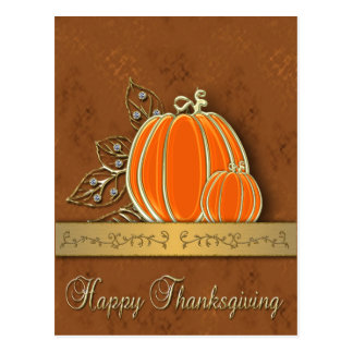 Gold Thanksgiving Pumpkin Leaves - Postcard