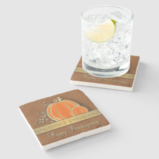 Gold Thanksgiving Pumpkin Leaves - Stone Coaster