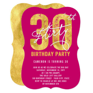 Gold Thirty and Flirty 30th Birthday Party Invite