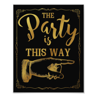 gold This way party wedding sign right arrow Photographic Print