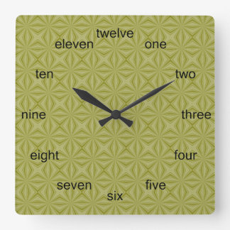 Gold Tinfoil Squiggly Squares Square Wall Clock