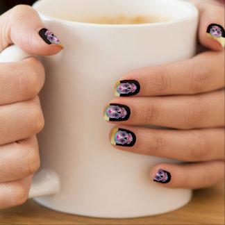 Gold Tip Black Rose Candy Skull Nails Minx Nail Art