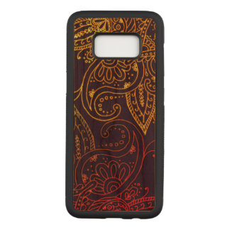 Gold to Red Mehndi on Purple Cherry Hardwood Carved Samsung Galaxy S8 Case