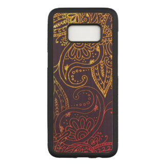 Gold to Red Mehndi on Purple Maple Hardwood Carved Samsung Galaxy S8 Case