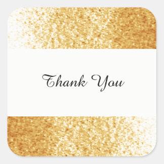 Gold Tone Faux Glitter Thank You Square Sticker