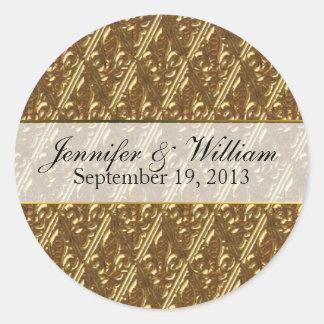 Gold Tone Fleur Di Lys Custom Wedding Sticker