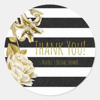 Gold Tone Floral Black & White Striped Favor Round Sticker